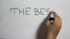 """Hand writing a """"The best of my life"""" message on a white board Stock Footage"""