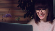 4K Corporate Shot of a Business Woman Working on Computer Smiling Happy Stock Footage