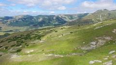 Aerial view of Bucegi mountains, Romania Stock Footage