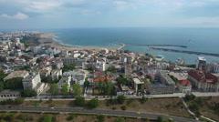 Aerial view of coastline, Constanta, Romania Stock Footage