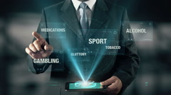Sport Healthy Life Success Concept Businessman using digital tablet technology Stock Footage