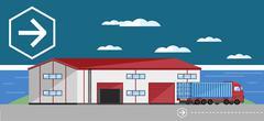 Warehouse exterior vector illustration Stock Illustration