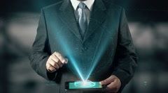 Stock investment Success Concept Businessman using digital tablet technology Stock Footage