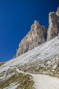 A hiking trail in the Tre Cime di Lavaredo region of the Dolomite mountains in Stock Photos