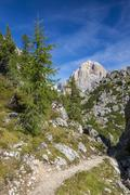 An alpine hiking trail in the Dolomite mountains in northern Italy. Stock Photos