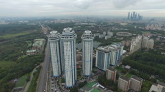 Aerial shot of Apartment houses on Mosfilmovskaya Street Stock Footage