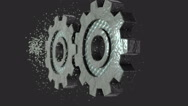 View of two rotating gear Stock Footage