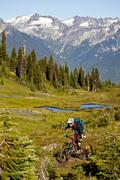 A male mountain biker rides the flowy, high alpine Frisby Ridge trail. Stock Photos