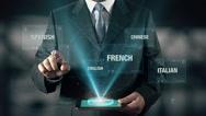 Portuguese Language Choose Businessman using digital tablet technology Stock Footage