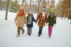 Four adorable friends walking in park in winter Stock Photos