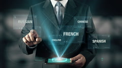 Italian Language Choose Businessman using digital tablet technology Stock Footage