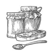 Jar, spoon and slice of bread with jam. Stock Illustration