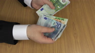 Household man count euro cash money banknotes on table. 4K Stock Footage