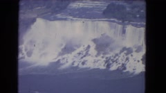 1964: passenger view from plane over water NIAGRA FALLS, NEW YORK Stock Footage