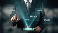 Arabic Language Choose Businessman using digital tablet technology Stock Footage