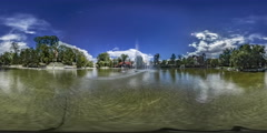 360Vr Video Timelapse Dancing Fountains Opole Park Summer Water Stream Stock Footage