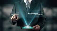 Hard Work Difficulties Problem Success Concept Businessman using digital Stock Footage