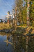Totem poles, Stanley Park, Vancouver, British Columbia, Canada Stock Photos