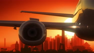 Beijing China Airplane Take Off Skyline Golden Background Stock Footage