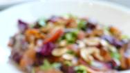 Smoked salmon salad with fresh vegetable Stock Footage