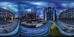 360Vr Video Timelapse Freedom Square Opole Night Cityscape Lights Street Lamps Stock Footage