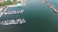 Aerial view of Constanta harbour and coastline, Romania Stock Footage