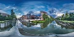 360Vr Video Timelapse Opole Venice Smooth Water Cityscape at the Sunset Cars Stock Footage