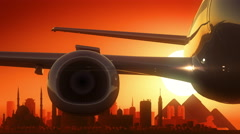 Cairo Egypt Airplane Take Off Skyline Golden Background Stock Footage