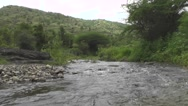River Flowing Between Big Green Mountains Nature Scenery Background Footage Stock Footage