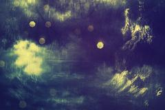 Spooky Tree in Night Mist Stock Illustration