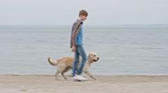 Teenage Boy Walking Dog on Beach Stock Footage