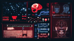 Ultra high resolution footage of brain scan futuristic interface Stock Footage