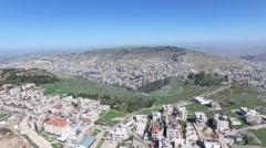 Mt Gerizim - Samaritan village near Mount Gerezim (Israel aerial footage) Stock Footage