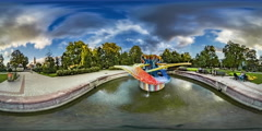 360Vr Video Timelapse Colorful Opole Fountain Languages Day Green Trees and Stock Footage
