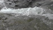 River Flows on Mountain Closer Look of Waterfall Nature Background Stock Footage
