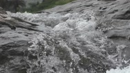 River Flows on Big Rocks of the Mountain in High Speed Nature Scene Stock Footage