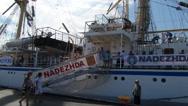 Nadezhda Russian Sailing Vessel Stock Footage