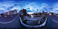 360Vr Video Timelapse Double Bridge in Opole Cityscape Cars Are Driven Stock Footage