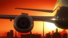 Dublin Airplane Take Off Skyline Golden Background Stock Footage