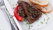 Grilled beef steak served on white plate Stock Footage