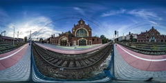 360Vr Video Timelapse Opole Railway Station Red Brick Building in Sunny Summer Stock Footage