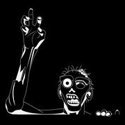Zombie white Silhouette for black background, Ready  cutting on plotters. Vector Stock Illustration