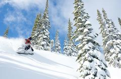 A woman skiiing in blue skies and powder at Whitewater Winter Resort, Nelson, Stock Photos