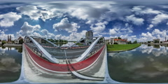 360Vr Video Timelapse Bridge Red Bicycle Lane Cars Are Driven Cityscape of Stock Footage