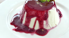 Sweet Panna cotta for dessert Stock Footage