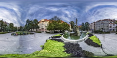 360Vr Video Timelapse Tourists on a Square Opole Fountain Languages Day Statue Stock Footage