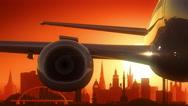 Glasgow Airplane Take Off Skyline Golden Background Stock Footage