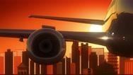 Guangzhou China Take Off Skyline Golden Background Stock Footage