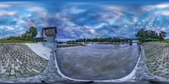 360Vr Video Timelapse Opole Dam Rippling Water Bridge Through River Observation Stock Footage