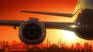 Istanbul Turkey Airplane Take Off Skyline Golden Background Stock Footage